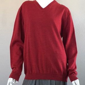 Red 💯 Marino Wool V-Neck Sweater